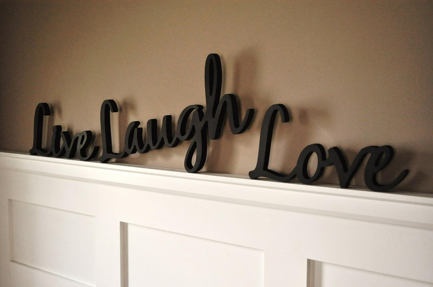 Word Art Wood 3D Cutout 'live Laugh Love' Setmrc With Wooden Word Art For Walls (Image 18 of 20)