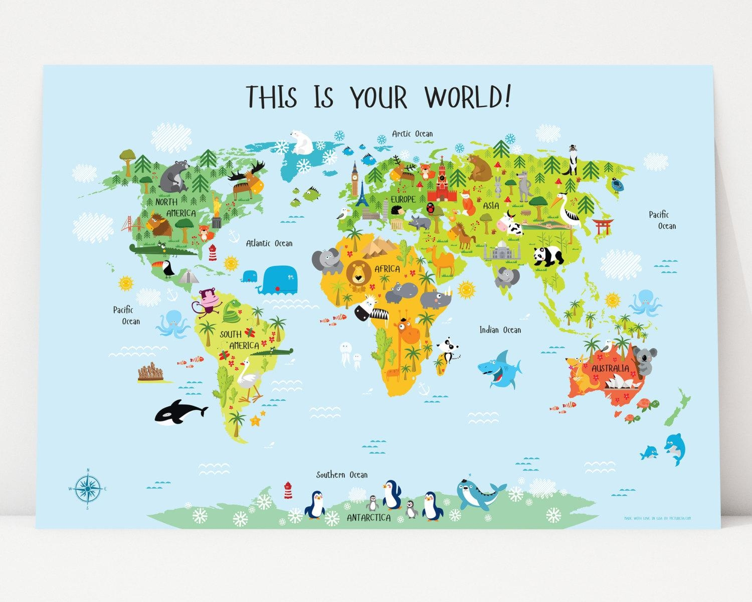 World Map For Kids Instant Download Nursery Decor High With Italian Nursery Wall Art (Image 20 of 20)