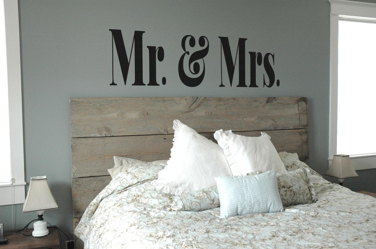 Xl Mr & Mrs Vinyl Decal Master Bedroom Decor Modern throughout Mr and Mrs Wall Art