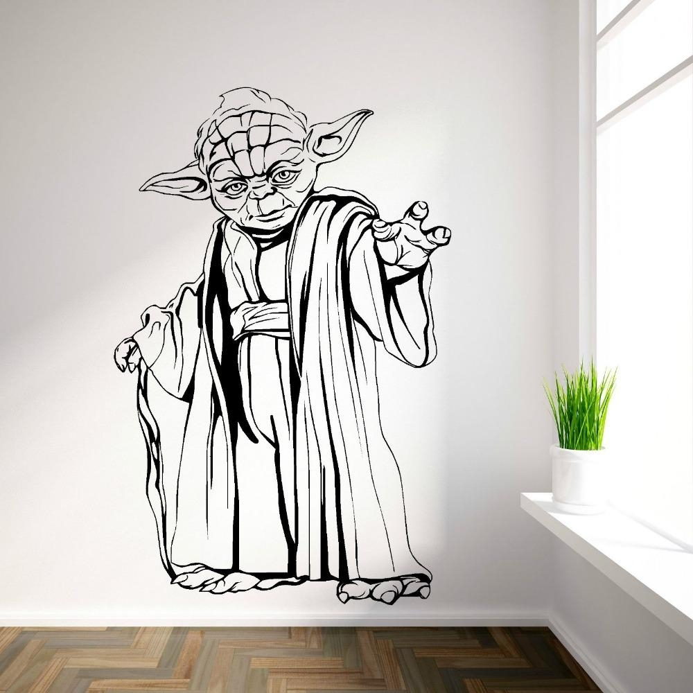 Yoda Star Wars Vinyl Wall Art Room Sticker Decal Movie Themed Wall For Movie Themed Wall Art (Image 20 of 20)
