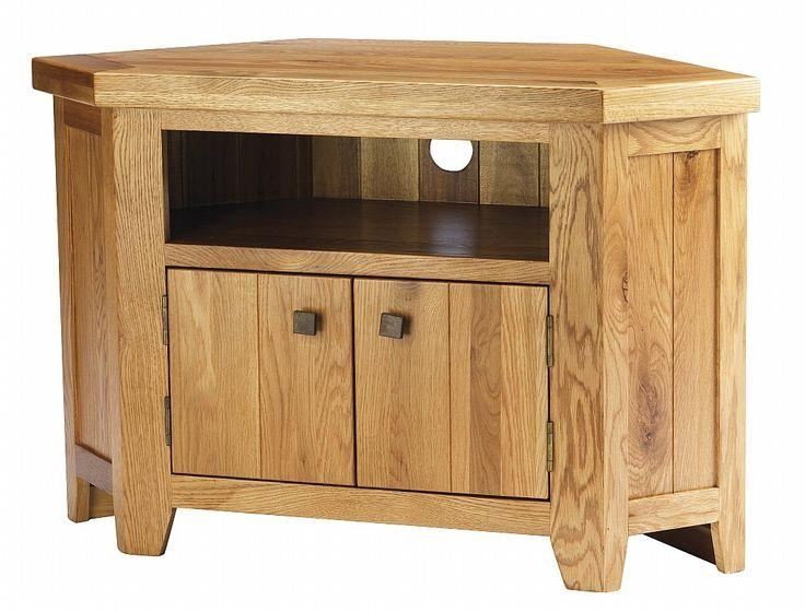 York Solid Oak Chunky Corner Tv Unit Cabinet Furniture | Corner Tv with Most Current Dark Wood Corner Tv Stands