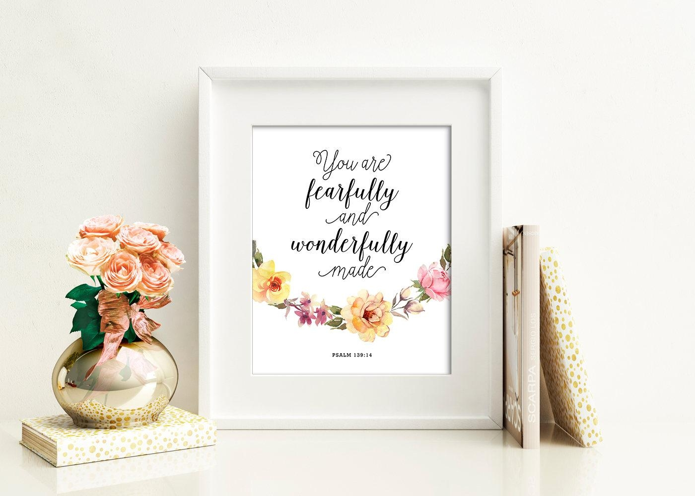 You Are Fearfully And Wonderfully Made Nursery Decor Printable intended for Fearfully And Wonderfully Made Wall Art