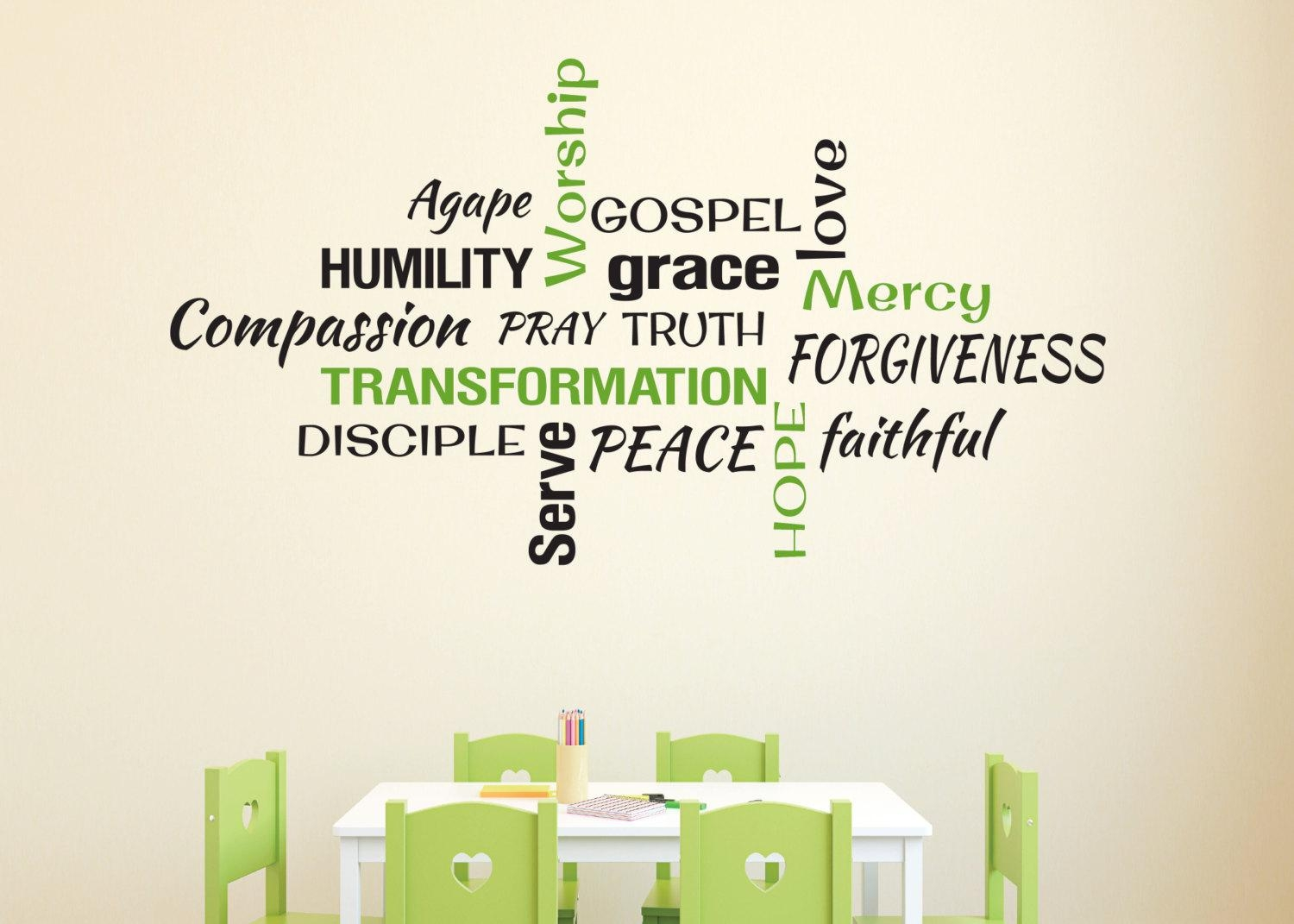 Youth Room Church Religious Christian Word Collage Subway Art regarding Christian Word Art For Walls