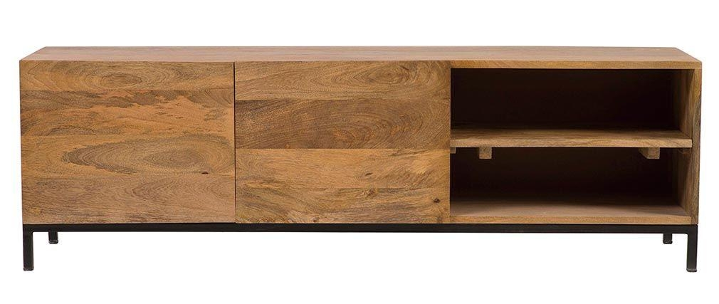 Ypster Mango Wood And Metal Industrial Tv Stand - Miliboo inside Best and Newest Mango Wood Tv Stands
