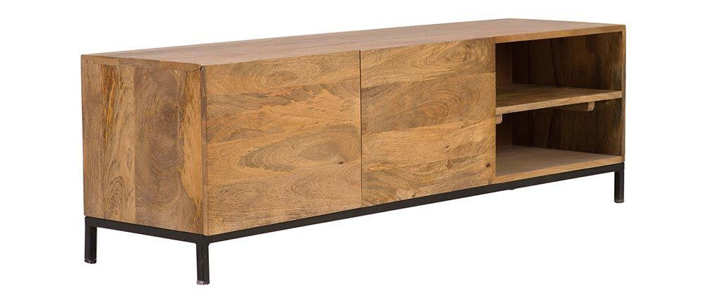 Ypster Mango Wood And Metal Industrial Tv Stand – Miliboo With Regard To Best And Newest Mango Wood Tv Stands (View 20 of 20)