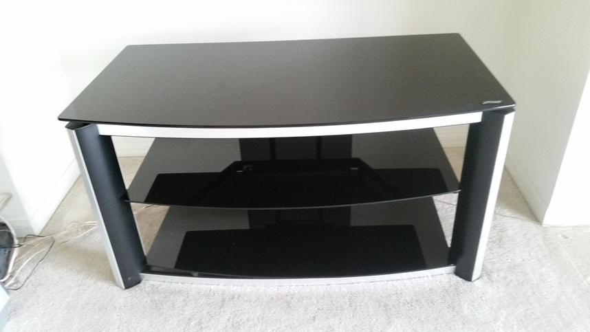 Z-Line Designs 3-Tier Glass/metal Black/silver Tv Stand | Theflyer inside Most Current Silver Tv Stands