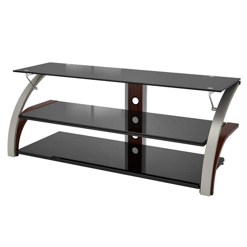 Z-Line Designs Elecktra 55 Inch Tv Stand With Black Glass Chrome pertaining to Recent Black Glass Tv Stands