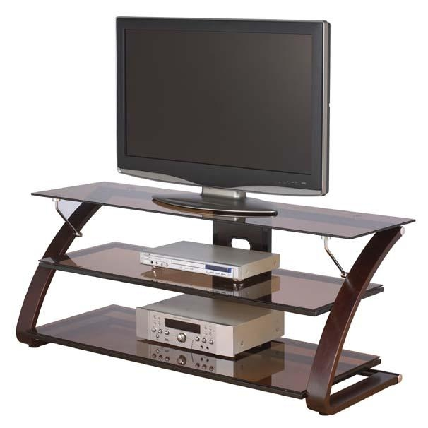 Z-Line Designs Keira 3-Shelf Mocha Glass Tv Stand For 32-55 Inch with Most Up-to-Date Glass Tv Stands