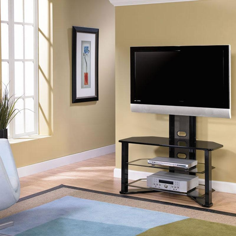 Z-Line Designs Madrid Corner Glass Tv Stand With Integrated Mount inside Most Current 50 Inch Corner Tv Cabinets