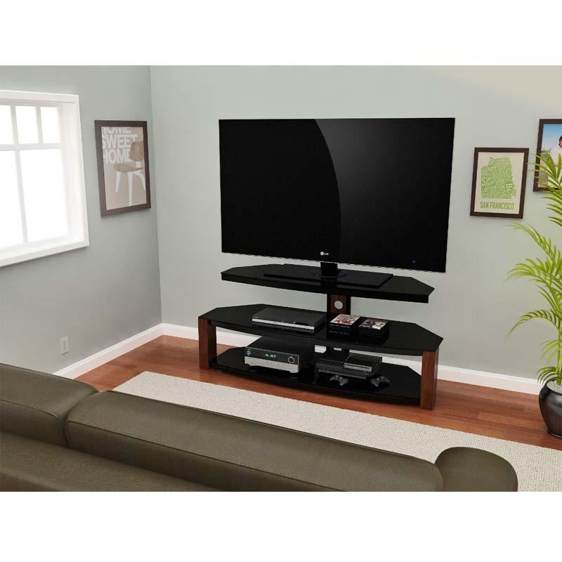 Z Line Designs Rhine 55 Inch Corner Tv Stand Black And Cherry Regarding Most Current Corner Tv Stands For 55 Inch Tv (View 6 of 20)