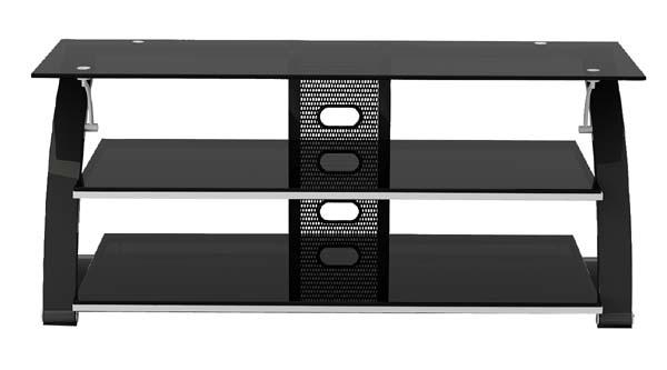 Z Line Designs Vitoria 3 Shelf Black Glass Tv Audio Stand For 48 For Latest Black Glass Tv Stands (Photo 2 of 20)