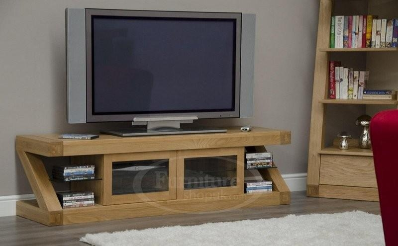 Z Oak Designer Widescreen Tv Stand Designer Furniture Ltd regarding Recent Widescreen Tv Cabinets