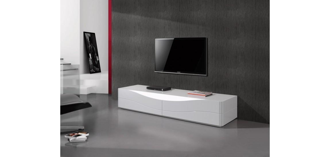 Zao Contemporary Tv Stand In White Lacquer Finishj&m Pertaining To Newest White Modern Tv Stands (Photo 5204 of 7746)
