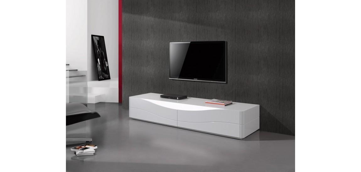 Zao Contemporary Tv Stand In White Lacquer Finishj&m throughout Latest Contemporary Tv Stands