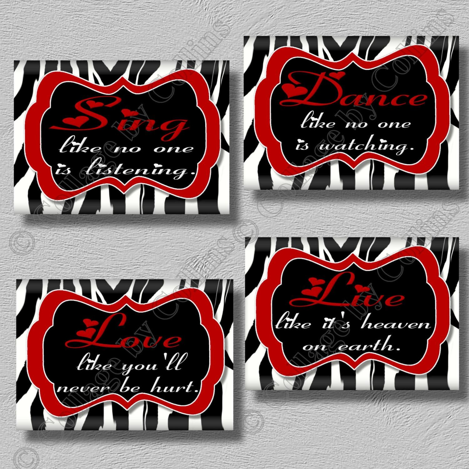 Zebra Print And Red Living Room Decor, Red Zebra Trend Home Ideas Pertaining To Red Bathroom Wall Art (Image 20 of 20)