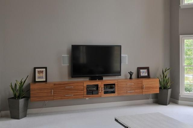 Zebrawood Tv Cabinet – Contemporary – Home Theater – Atlanta – With Most Recent Floating Tv Cabinet (Image 20 of 20)