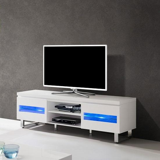 Zedan Lcd Tv Stand In White Gloss With Led Lights 23846 within Newest Tv Stands With Led Lights