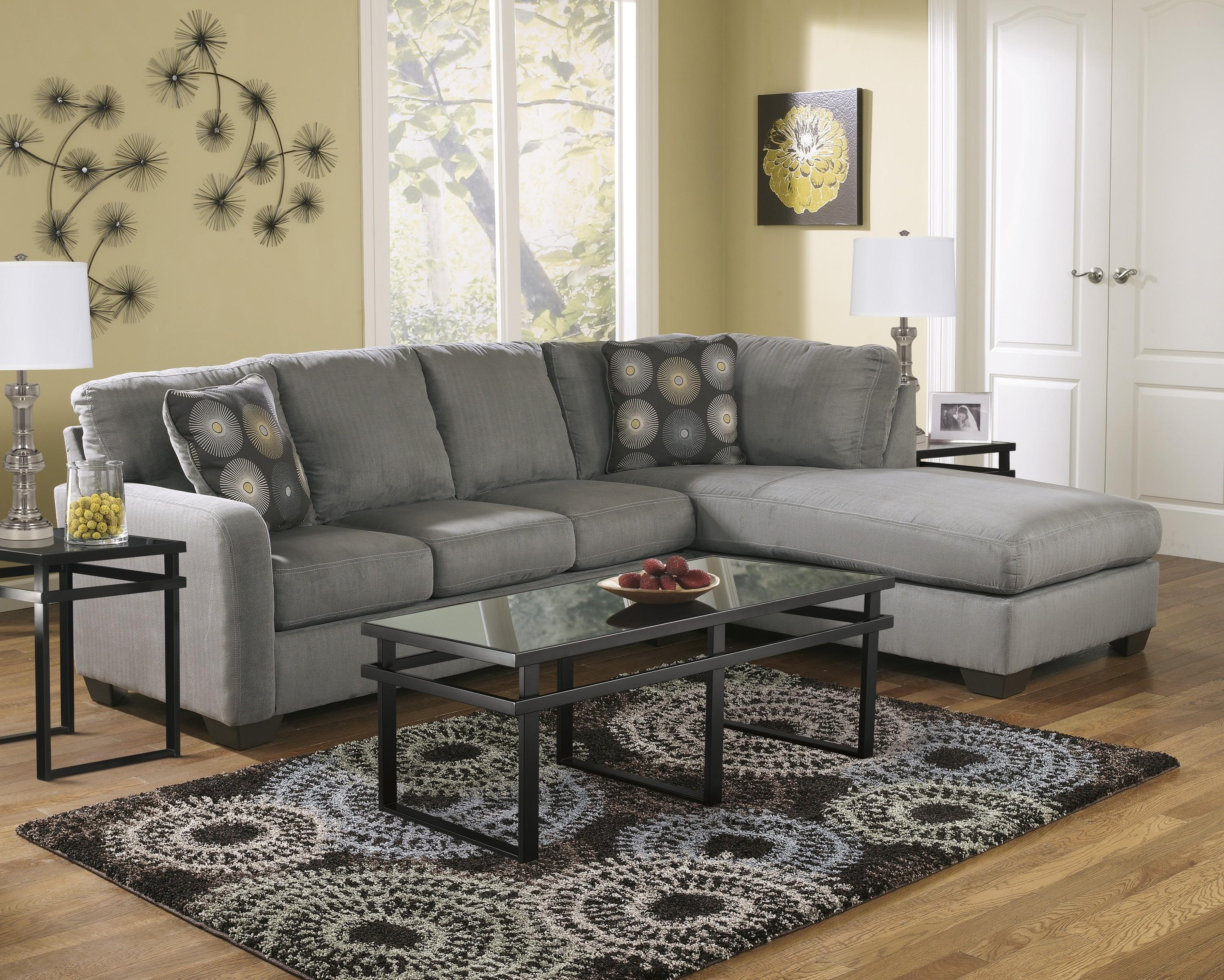 Zella Charcoal 2-Piece Sectional Sofa For $545.00 - Furnitureusa in Small 2 Piece Sectional Sofas