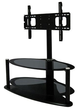 Zin421459Hyb, Universal Hybrid Oval Bolt-On Glass Tv Stand For inside Newest Oval Glass Tv Stands