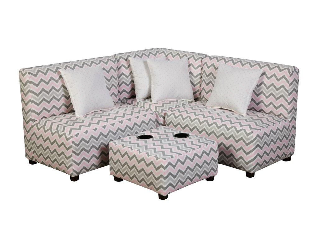 Zipcode Design Meghan Modern Kids Cotton Sectional And Ottoman inside Children Sofa Chairs