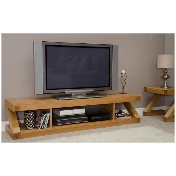 Zouk Solid Oak Designer Furniture Large Widescreen Tv Cabinet In Newest Wide Screen Tv Stands (View 4 of 20)