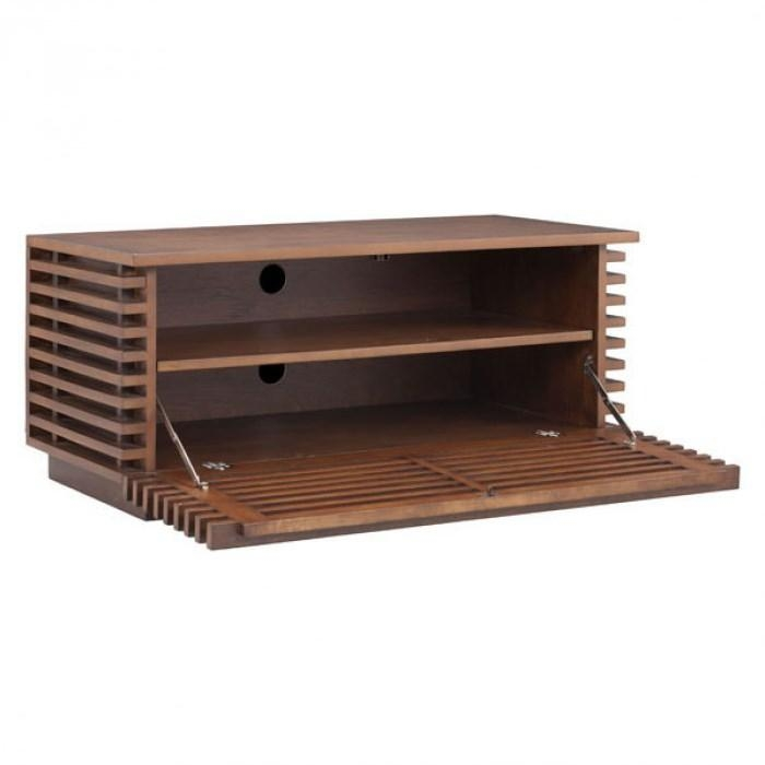 Zuo 199053 Linea Narrow Tv Stand In Walnut - Homeclick intended for Most Up-to-Date Walnut Tv Stands