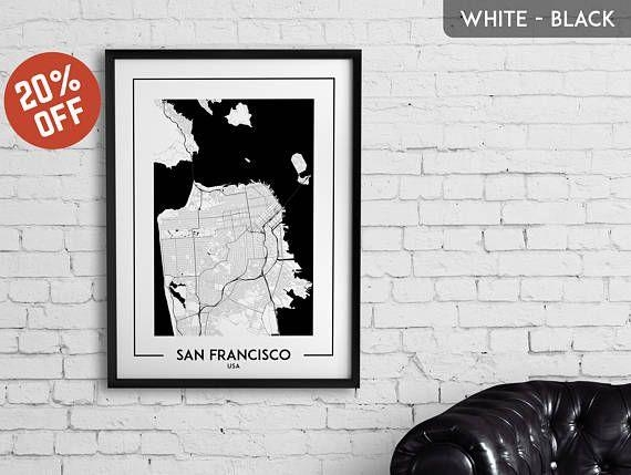 114 Best City Map Posters, Wall Art, Decor Images On Pinterest Throughout San Francisco Map Wall Art (Image 1 of 20)