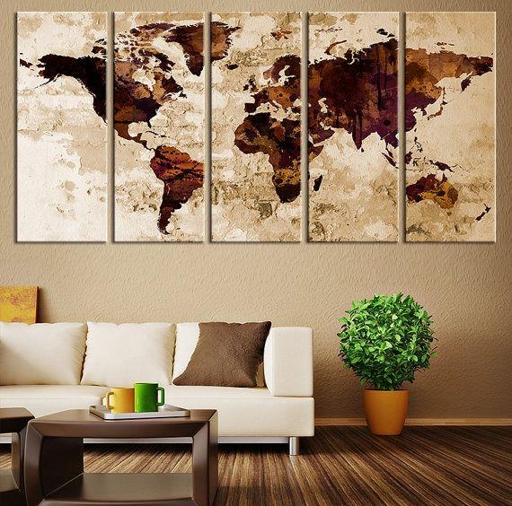 119 Best Watercolor Wall Art World Map Images On Pinterest Throughout Map Wall Art Prints (Image 1 of 20)
