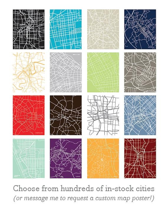 11X14 City Map Wall Art: Choose Any City And Color In Intended For City Map Wall Art (Image 1 of 20)