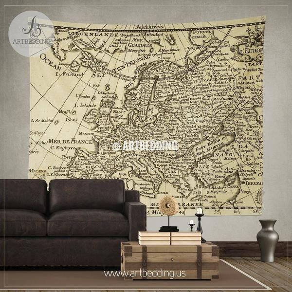 145 Best Vintage Antique World Map Decor, Wall Art Prints And Inside Europe Map Wall Art (View 16 of 20)