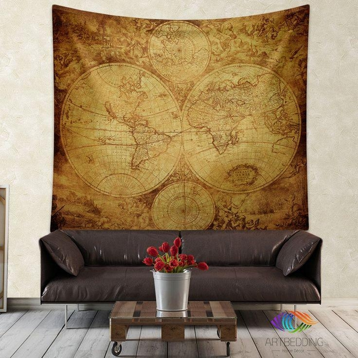 145 Best Vintage Antique World Map Decor, Wall Art Prints And Inside Map Wall Art Prints (Image 3 of 20)