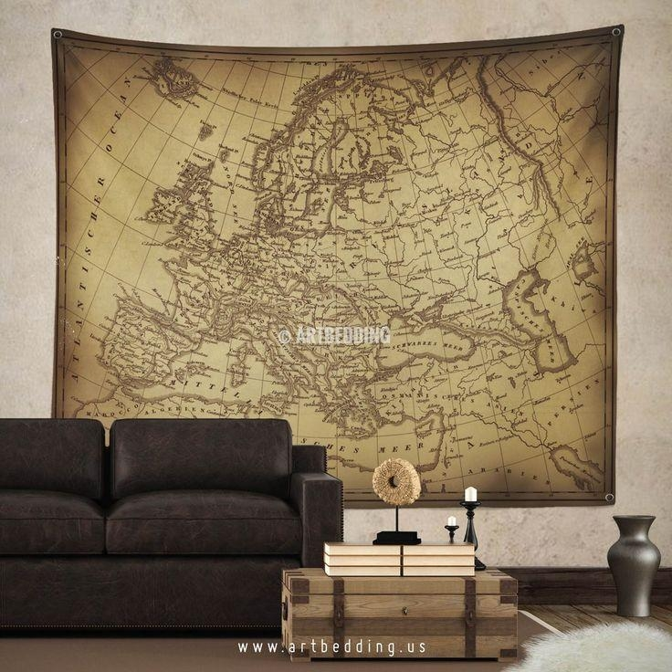 145 Best Vintage Antique World Map Decor, Wall Art Prints And Intended For Europe Map Wall Art (Image 2 of 20)
