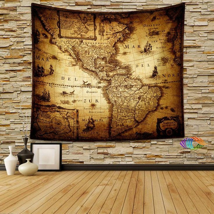 145 Best Vintage Antique World Map Decor, Wall Art Prints And With Regard To Map Wall Art Prints (Image 4 of 20)