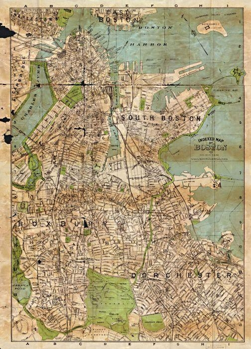 15 Best Boston Antique Maps Wall Art Images On Pinterest | Antique With Boston Map Wall Art (View 18 of 20)