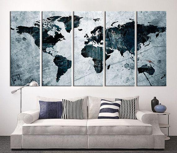 Wall art ideas map wall art prints explore 5 of 20 photos 17 best large wall art world map canvas print images on pinterest pertaining to map wall gumiabroncs Choice Image