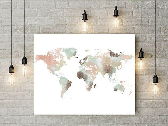 17 Best World Maps Images On Pinterest | World Maps, Water Colors With Regard To Map Wall Artwork (Image 1 of 20)
