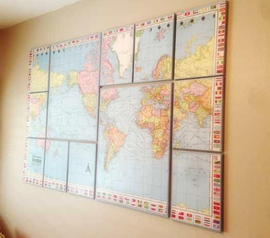 17 Cool Ideas For World Map Wall Art – Live Diy Ideas Inside Cool Map Wall Art (Image 4 of 20)