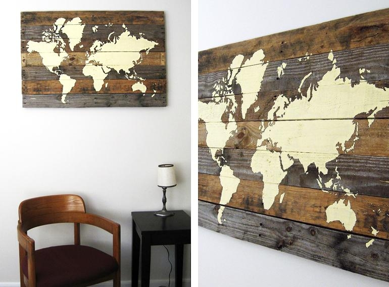 17 Cool Ideas For World Map Wall Art – Live Diy Ideas Within Cool Map Wall Art (Image 7 of 20)