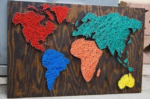 17 Creative Diy Map Tutorials | Art Nails, Walls And String Art With Regard To String Map Wall Art (View 3 of 20)