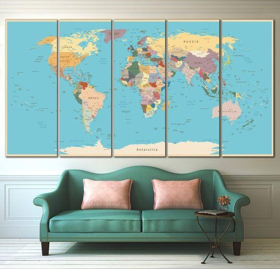 170 Best World & Country Maps Images On Pinterest | Country Maps Regarding Personalized Map Wall Art (Image 1 of 20)