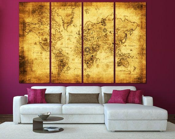 170 Best World & Country Maps Images On Pinterest | Country Maps Within World Map Wall Art Canvas (Image 1 of 20)