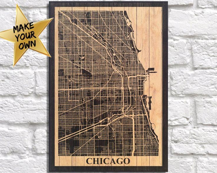 18 Best City Travel Maps Images On Pinterest | Travel Cards With Chicago Map Wall Art (View 17 of 20)