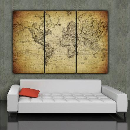 1850 Vintage World Map Art On Canvas Vintage Map Set For Intended For Canvas Map Wall Art (View 3 of 20)