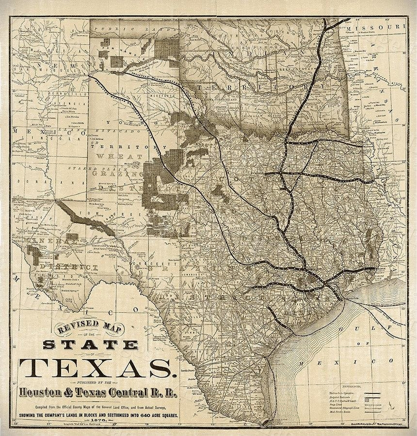 1876 Old Texas Map Vintage Historical Wall Map Antique Restoration Within Texas Map Wall Art (Image 1 of 20)