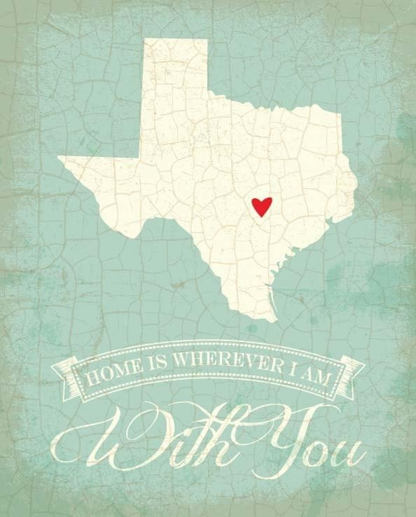 2014 Texas Map Art State Poster  8 X 10 Typographic Poster With Texas Map Wall Art (Image 2 of 20)