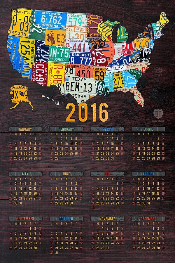 2016 Calendar License Plate Map Of The Usa Recycled Wall Art Mixed Intended For License Plate Map Wall Art (Image 1 of 20)