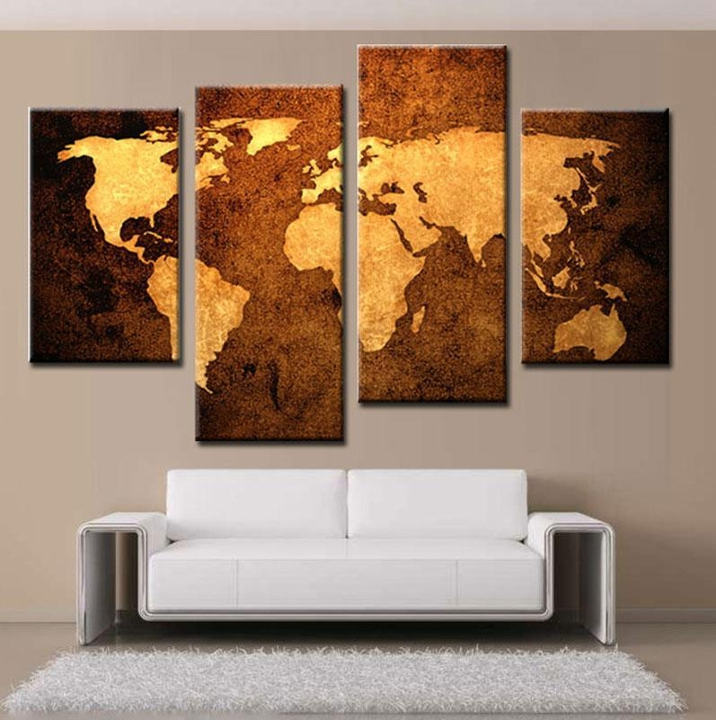2018 4 Picture Combination Prints Canvas Old Map Wall Art Canvas Pertaining To Old Map Wall Art (Image 1 of 20)