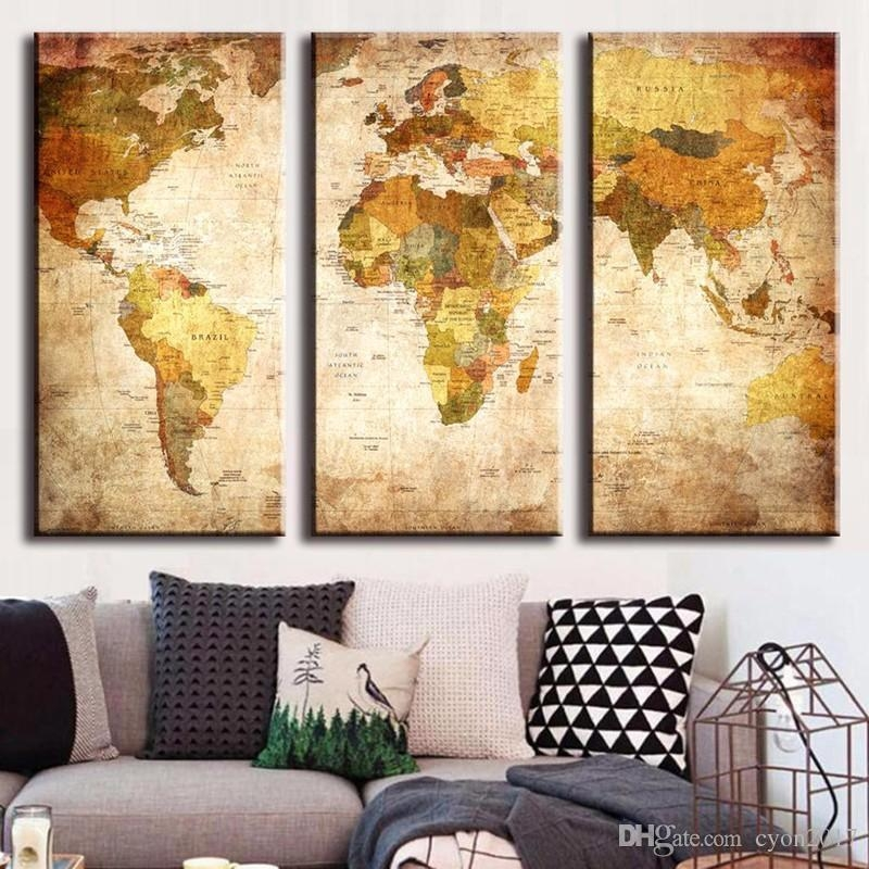 2018 Hot Sell 3 Panel Vintage World Map Canvas Painting Oil For Vintage World Map Wall Art (Image 3 of 20)
