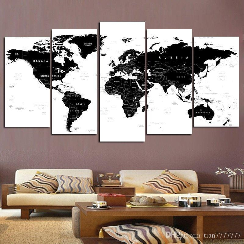2018 New World Map Wall Art Painting On Canvas 5 Panel No Frame Throughout Personalized Map Wall Art (View 15 of 20)