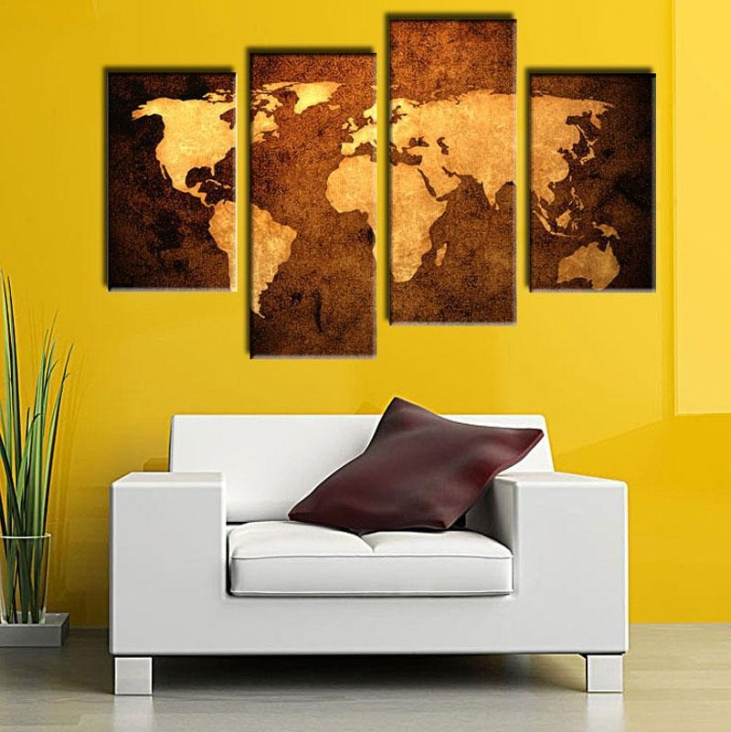 2018 Old Map Wall Art Painting Print On Canvas The Picture Murals With Regard To Old Map Wall Art (Image 2 of 20)